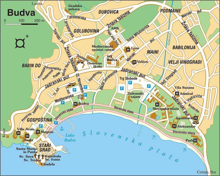 Карта Будвы