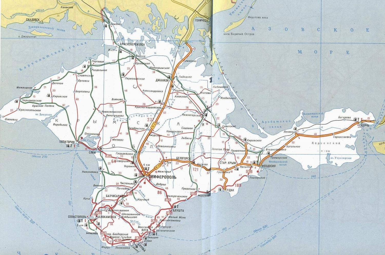 Карта автомобильных дорог на полуострове крым.