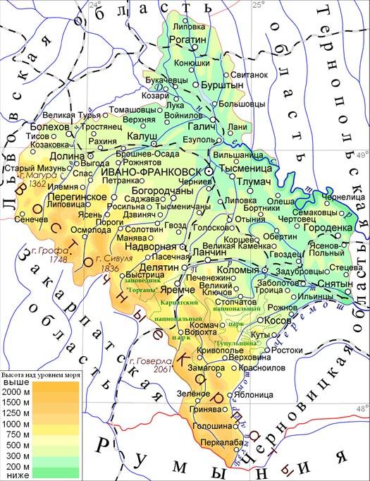 Карта Ивано-Франковской