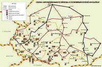 Карта автомобильного проезда к основным курортам Карпат