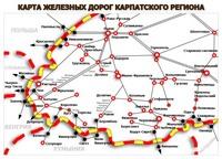Карта железных дорог Карпат