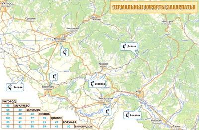 Карта термальных курортов Закарпатья